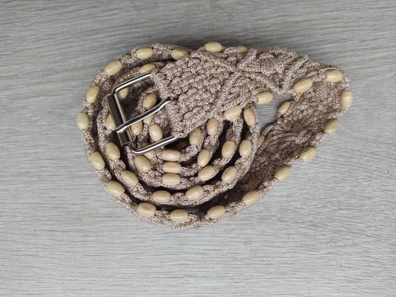 Boho ivory macrame belt Wooden detail belt Hippie belt Festival belt,Summer ivory belt Bohemian belt