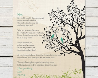 Gift For Mom From Son Mothers Day Birthday Personalized Poem Thank You