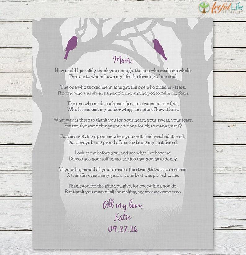 MOM WEDDING THANK You Gift Brides Mother Mom Birthday