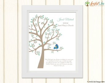 Baptism Gift, Baby Boy Personalized Baptism Art Print, Nursery Wall Art, Customized Baptism Wall Art