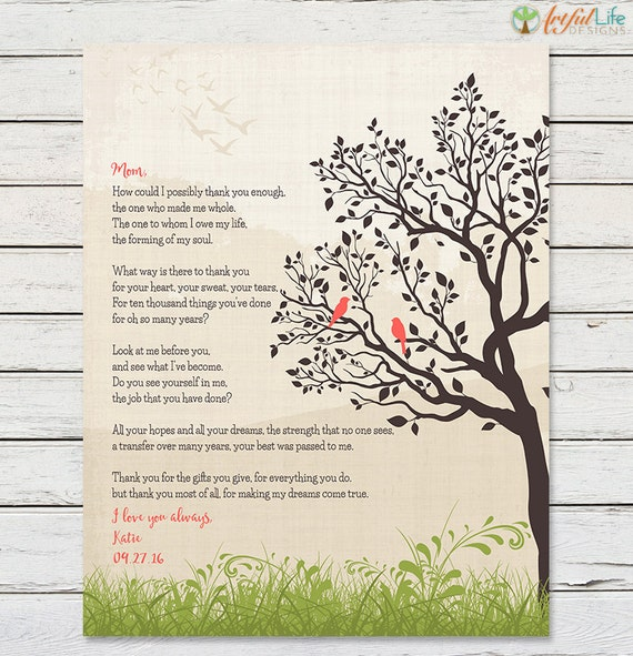 GIFT FOR MOM From Daughter Printable Mom Poem Birthday