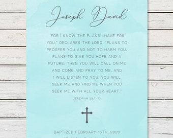 Baptism Gift Personalized, Baptism Verse, Baptism Blessing, Baptism Keepsake, Boy Baptism, Girl Baptism, Godson Gift, Goddaughter Gift