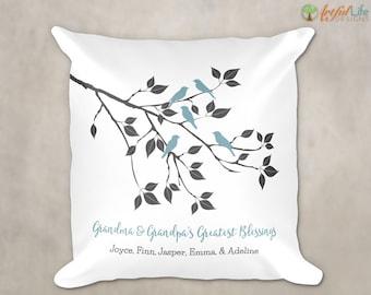 Grandparent Gift Pillow, Grandma Grandpa Gift, Gift from Grandkids Grandchildren, Personalized Grandkids Names Pillow