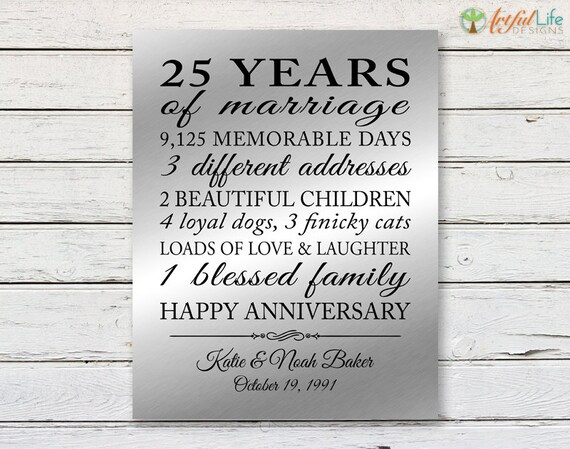 25 Years Of Marriage Gift 25th Anniversary Print Etsy