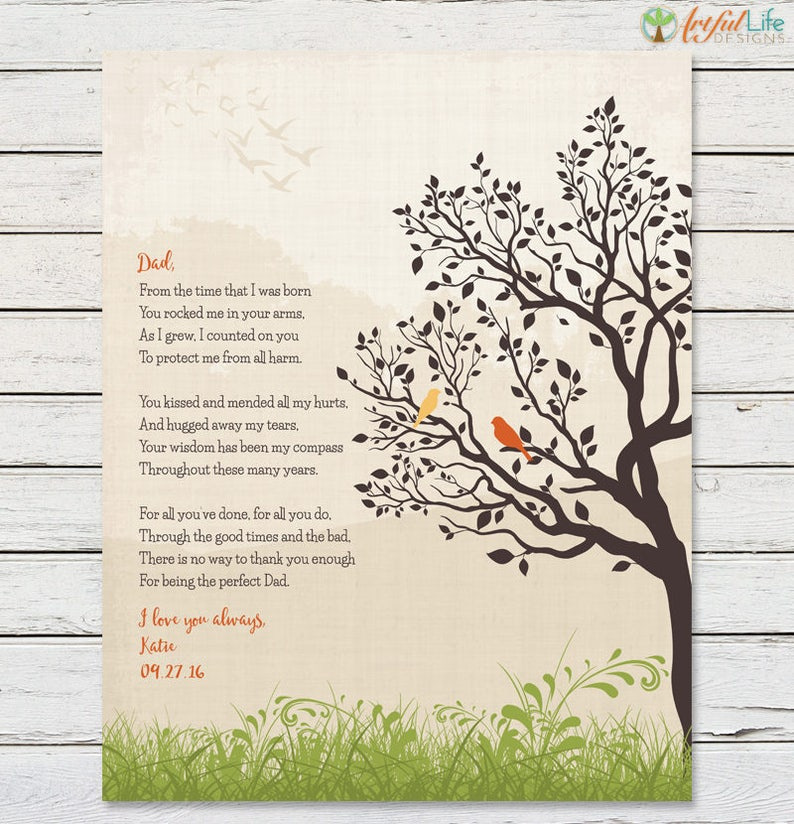 GIFT FOR DAD from Daughter, Father's Day Gift, Dad Birthday, Dad Thank You,  Father of the Bride, Personalized Print For Dad, Dad Poem