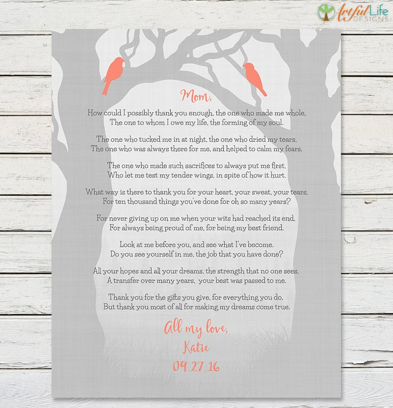 GIFT FOR MOM From Daughter Mom Poem Print Birthday Gift