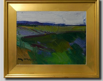Green Painting, Plein Air Landscape Painting, Impressionist Oil, Hills Field Painting, Contemporary Abstract Painting