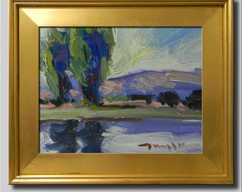 Blue Sky Painting, Plein Air Landscape Painting, Impressionist Oil, River Painting, Tree Painting, Lake Painting, Abstract Painting
