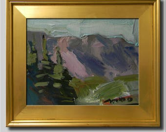 Pines Landscape Painting, Impressionist Oil, Southwest Landscape, Hills Painting, Tree Painting, Plein Air Abstract Painting