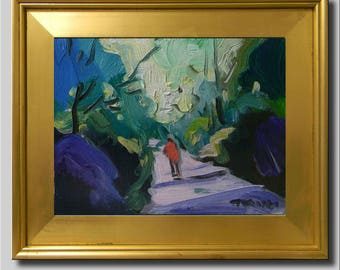 Path People Painting, Plein Air Landscape Painting, Impressionist Oil Painting, Sky Painting, Green Abstract Painting