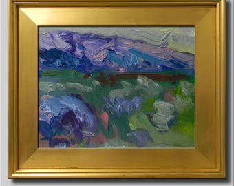 Blue Green Painting, Plein Air Landscape Painting, Impressionist Oil, Hills Field Painting, Contemporary Southwest Abstract Painting