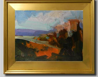 Landscape Painting, Impressionist Oil, Southwest Landscape, Hills Field Road Painting, Contemporary Painting, Plein Air Abstract Painting