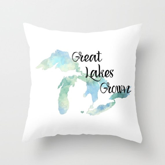 Outstanding Throw Pillow Cover Great Lakes Grown Home Decor Case Bedroom Livingroom Couch Michigan State Love Blue Watercolor Heart Home Andrewgaddart Wooden Chair Designs For Living Room Andrewgaddartcom