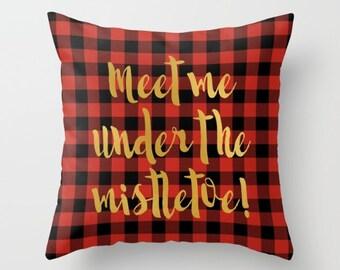 Throw Pillow Cover Meet Under Mistletoe Home Decor Christmas Holiday Seasonal Decor, Gold Red Buffalo Plaid Decor, Winter Decor