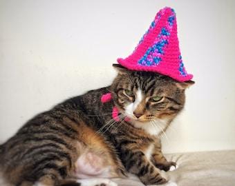 Pet's Birthday Crochet Cat Hat Dog Cap Unique Handmade Pink Blue Pet Accessories