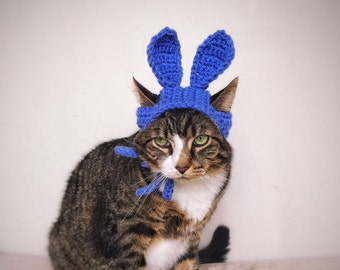 Easter Bunny Hat for Cat Crochet Blue Costume Hat for Cat Unique Handmade Pet Accessories