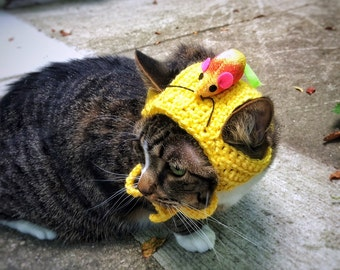 Halloween  Costume Hat with Mouse Crochet Unique Handmade Yellow Cat Dog Pet Hat