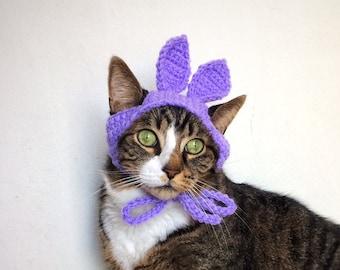 Easter Bunny Hat for Cat Halloween Costume Crochet Purple Violet Costume Hat for Cat Unique Handmade Pet Accessories