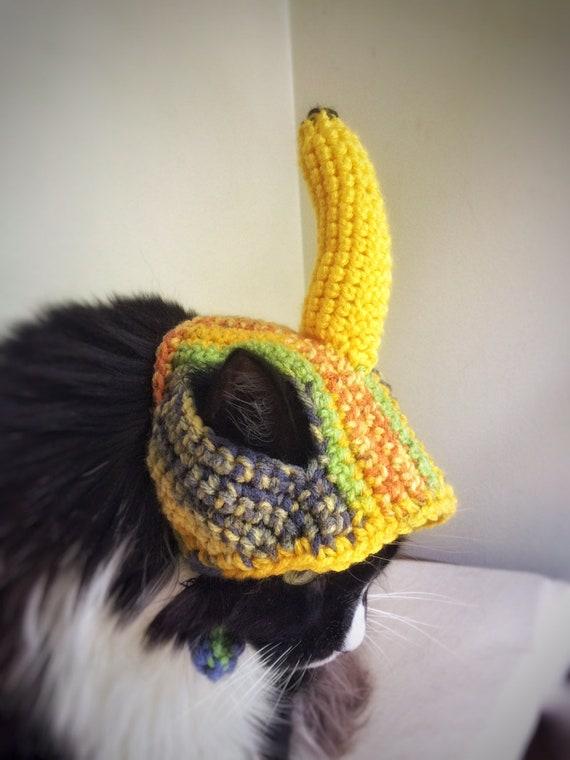 Halloween Costume Banana Head Crochet Cat Dog Hat Yellow Etsy