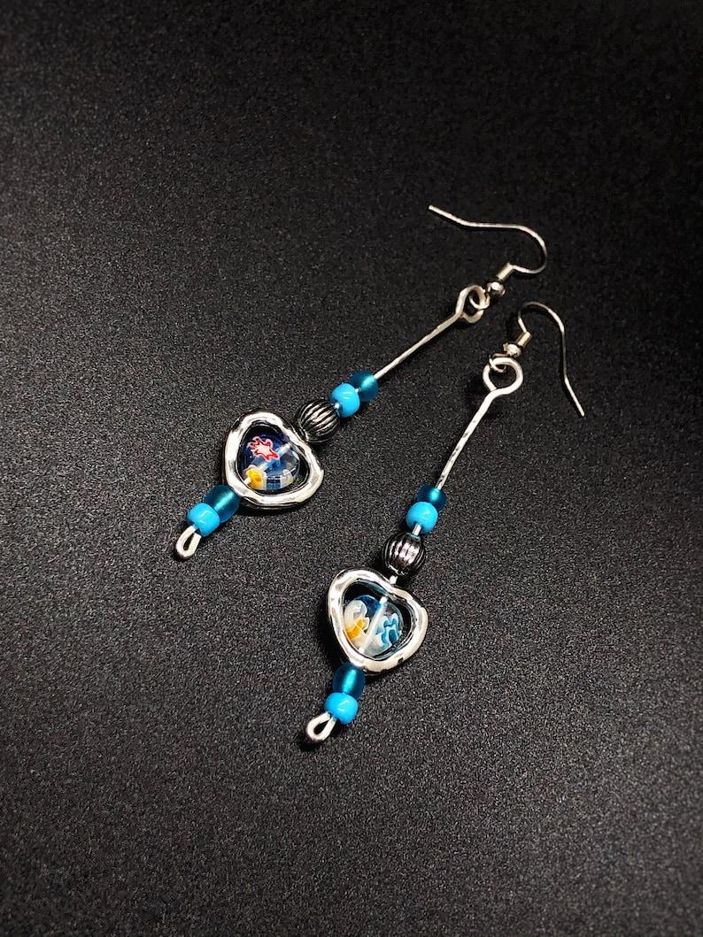 Heart Earrings Dangle Beaded Wire Jewelry Unique Handmade Earrings
