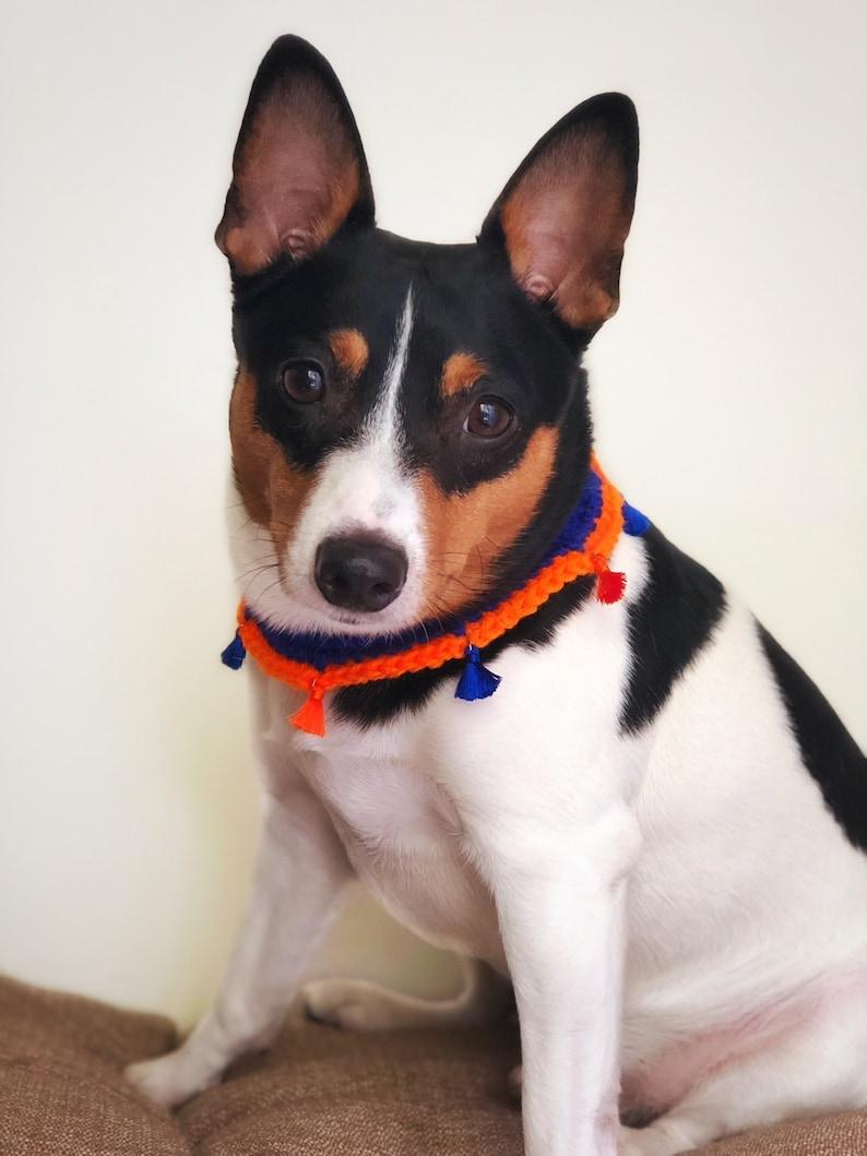 Crochet Dog Collar Elastic Pet Necklace Blue And Orange Etsy