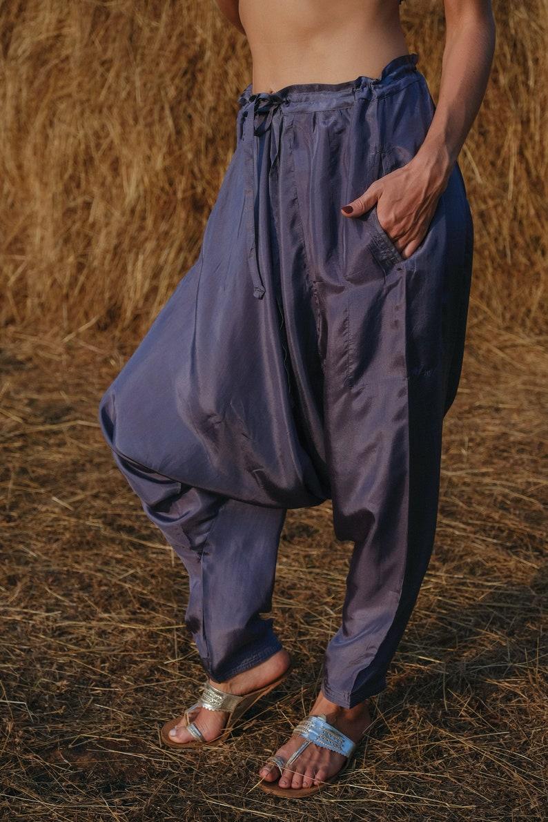 Dhoti Silk Hareem Pant Folk Grey Summer Trousers Pocket Drop Crotch Travel Pants Loungewear Sleepwear Soft Natural Fibers Eco Friendly Boho