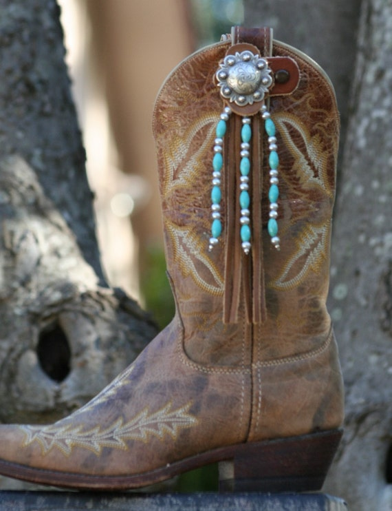 Boot Candy Toppers Turquoise and Silver