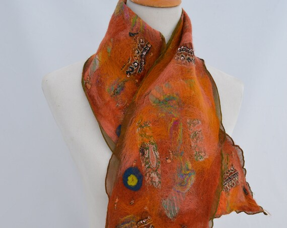 Rust colored Nuno Felt Scarf