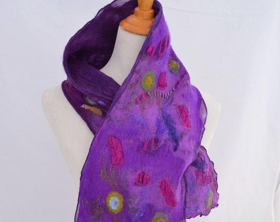Purple Nuno Felt Scarf