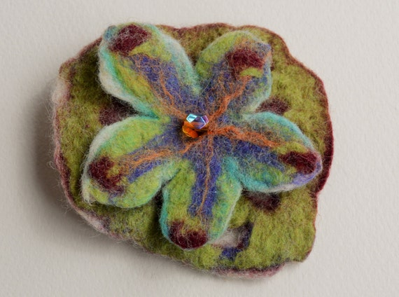 Felted Flower Hair Clip