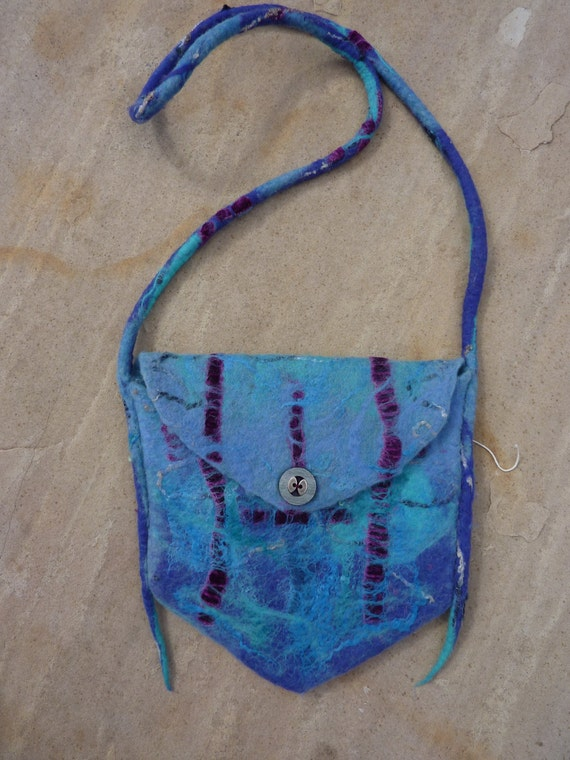 Wet-felted Merino wool and Silk purse