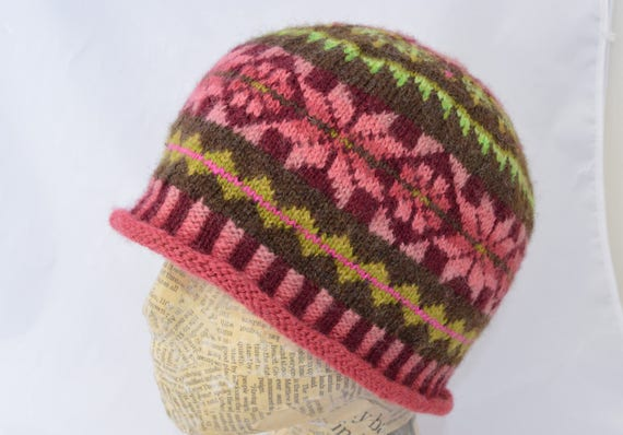 Pink and Green Fair Isle Hat