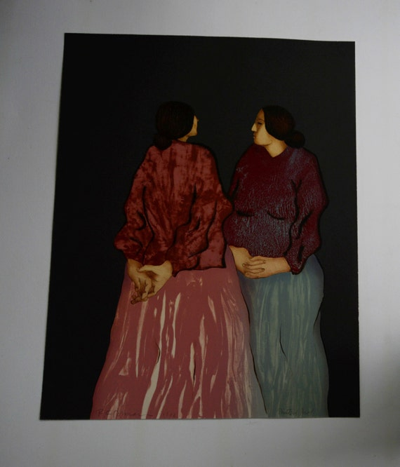 "R.C.Gorman ""two sisters"" hand pulled lithograph printers proof"