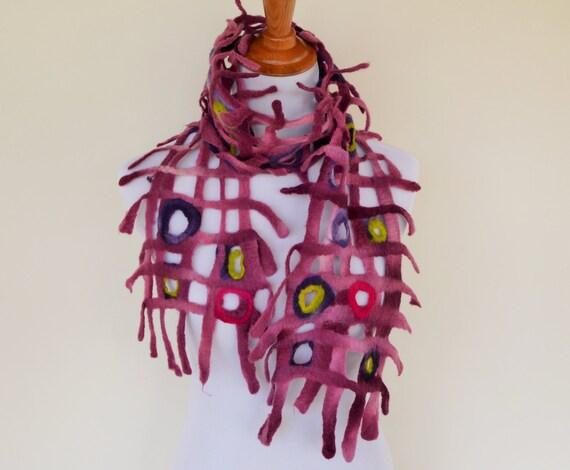 Merino wool wet- felted scarf