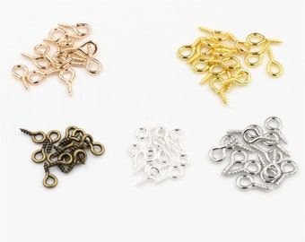 Dollhouse Miniature Ten Piece Bronze Metal Screw Eye Pins Top Pins Screw