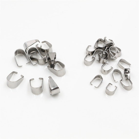 10pcs Stainless Steel Pinch Bails Clasps 10x8mm Connectors jewelry findings DIY