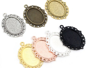 10pcs 18x25mm 13x18mm 20pcs Inner Size 6 Colors Plated Classic Style Cameo Cabochon Base Setting Charms Pendant necklace findings