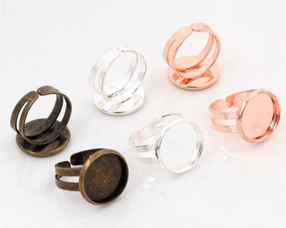 1x Einstellbarer Ringrohling Bronze für 13x18mm Cabochon Kamee DIY Basteln Ring