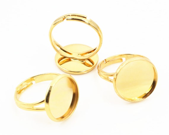 14mm 10pcs de base d'anneau d'or