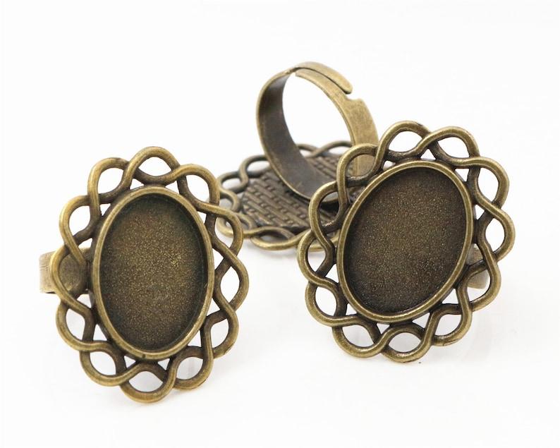 13x18mm 10pcs Brass Bronze Ring Cameo