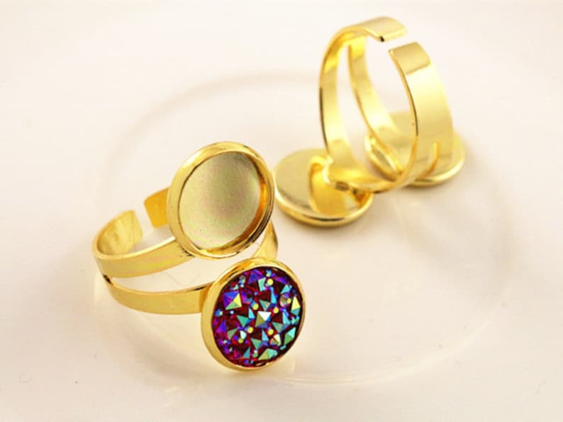 12mm 5pcs Classic 7 Colors Plated Brass Adjustable Ring Settings BlankBase,Fit 12mm Glass Cabochons,Buttons;Ring Bezels