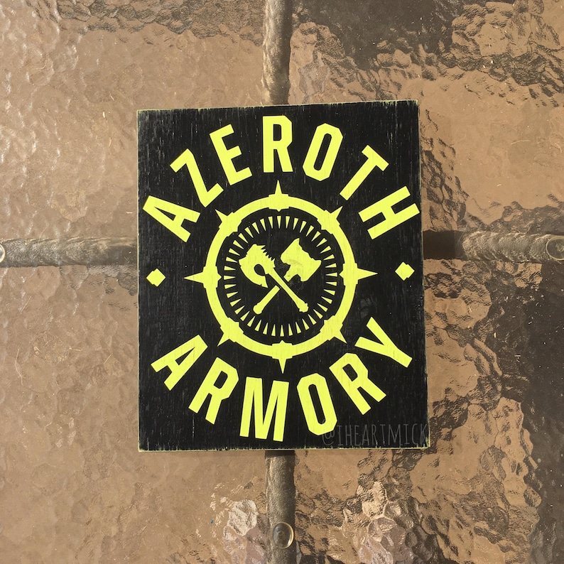 World of Warcraft Inspired  Azeroth Armory Painted Wood Sign image 0