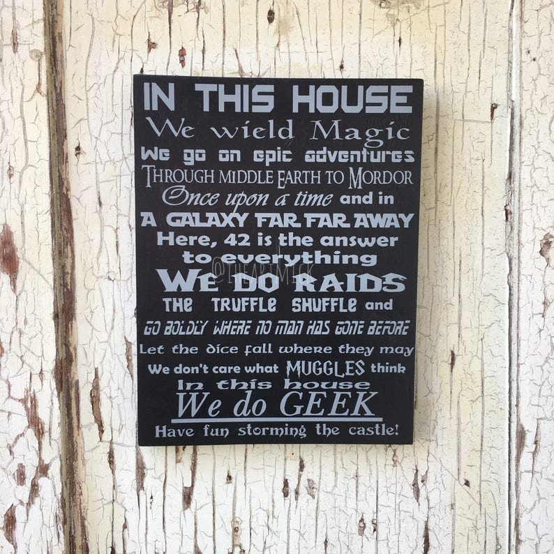We Do Geek  In This House 9 x 12 Painted Wood image 0