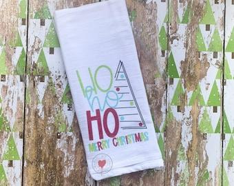 Ho Ho Ho Merry Christmas - Flour Sack Tea Towel - Christmas Tea Towel - Holiday Towel - Kitchen Towel