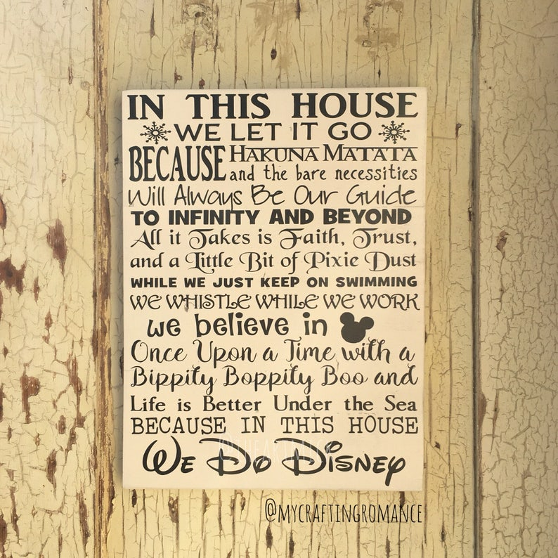 We Do Disney In This House 12 x 16 Painted Wood Sign image 0