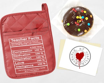 Teacher Nutrition Facts - Pocket Pot Holder - Available in Green, Red, Turquoise & Gray. Teacher Gift - Pot Holder Only
