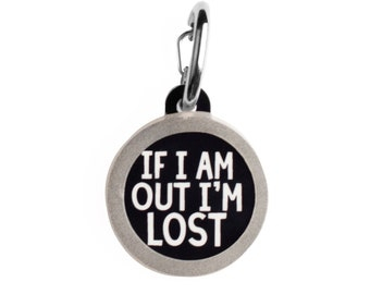 Personalized Double Sided Silent Small Cat or Large Dog ID Tag - If I Am Out I'm Lost