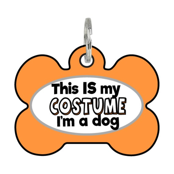 Orange dog tag with the words this is my costume I'm a dog displayed on front.