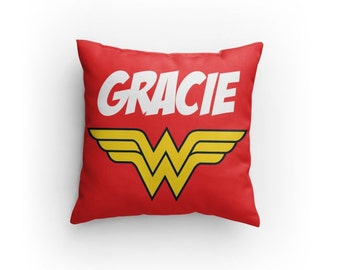 wonder woman inspired 14 x 14 pillow not a case personalize with name perfect gift for any justice league fan christmas gift