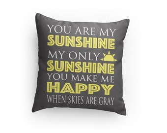You Are My Sunshine Pillow - 3 Sizes Available- Super Plush- (NOT a Cover!) Great Gift for Mom/Child/Baby Shower! Valentine's Day